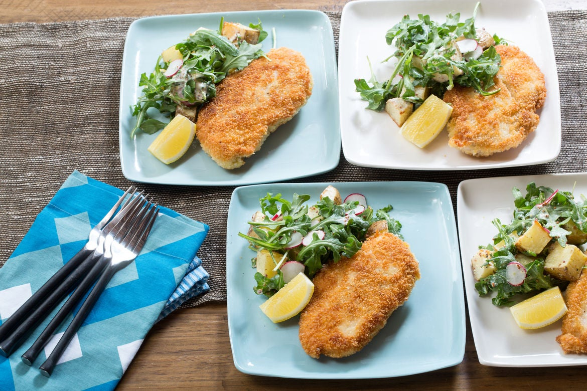 Chicken Milanese with Arugula, Potato & Radish Salad