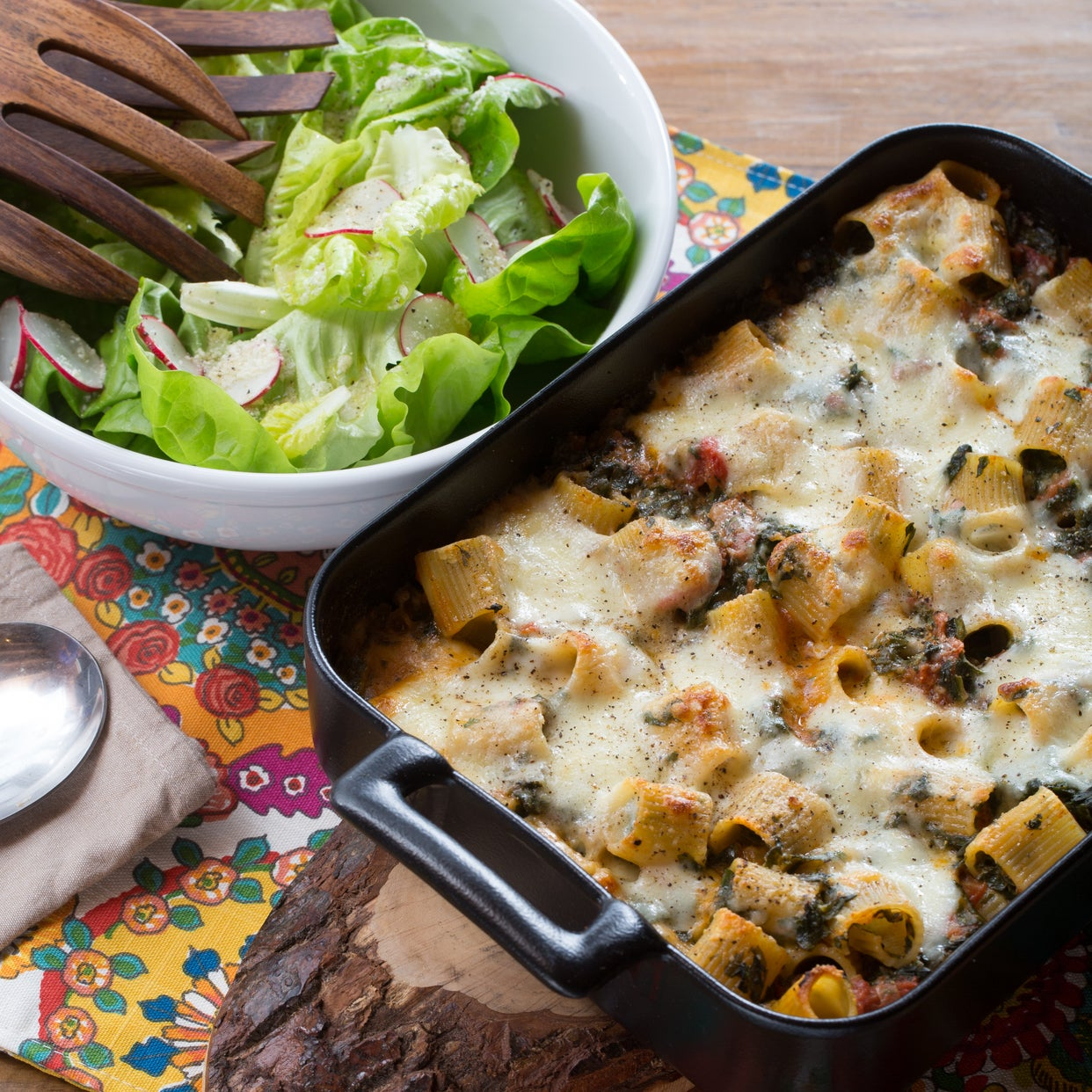 Baked Spinach & Mozzarella Rigatoni with Butter Lettuce & Radish Salad