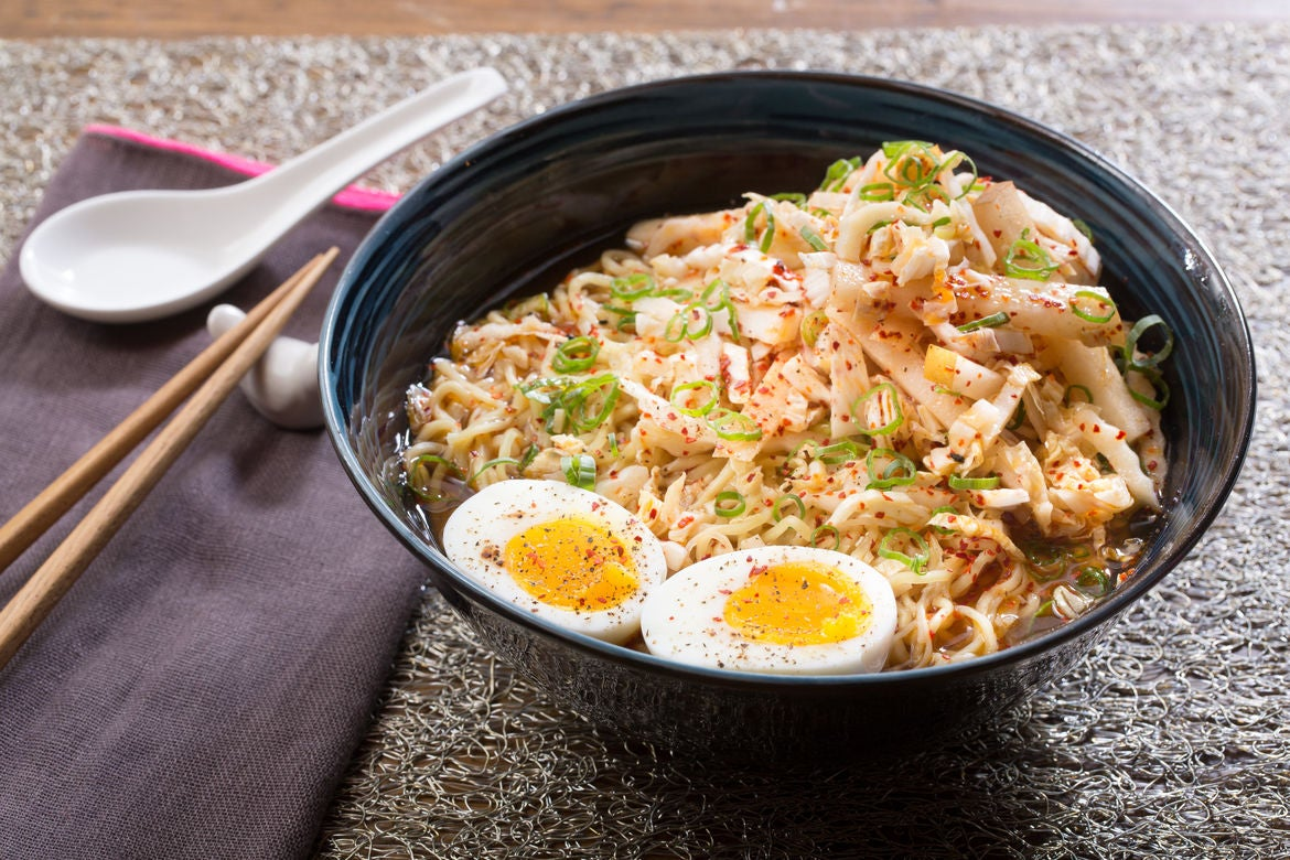 Kimchi & Barley Miso Ramen with Soft-Boiled Eggs & Asian Pear