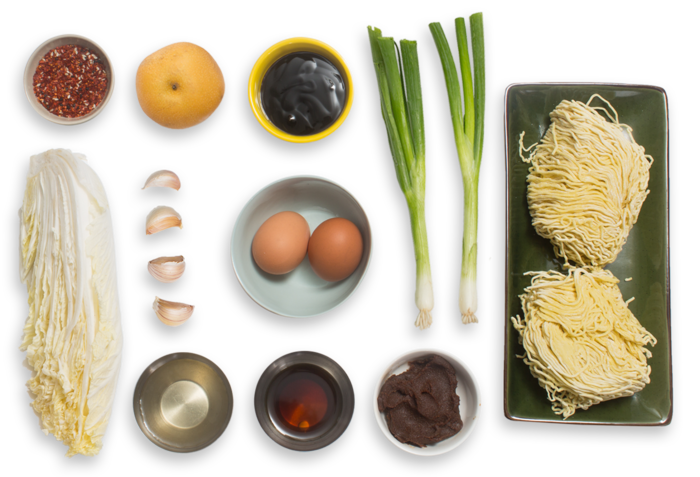 Kimchi & Barley Miso Ramen with Soft-Boiled Eggs & Asian Pear ingredients