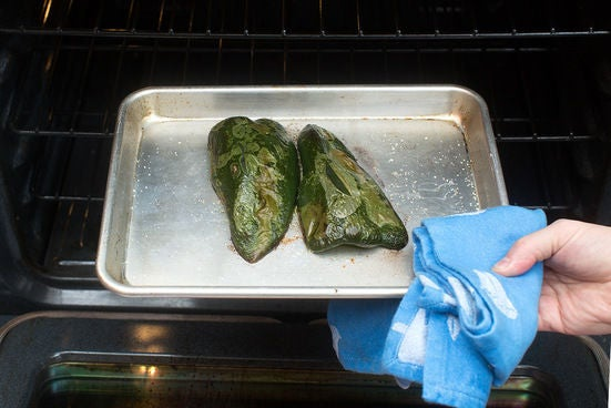 Roast & chop the poblano pepper: