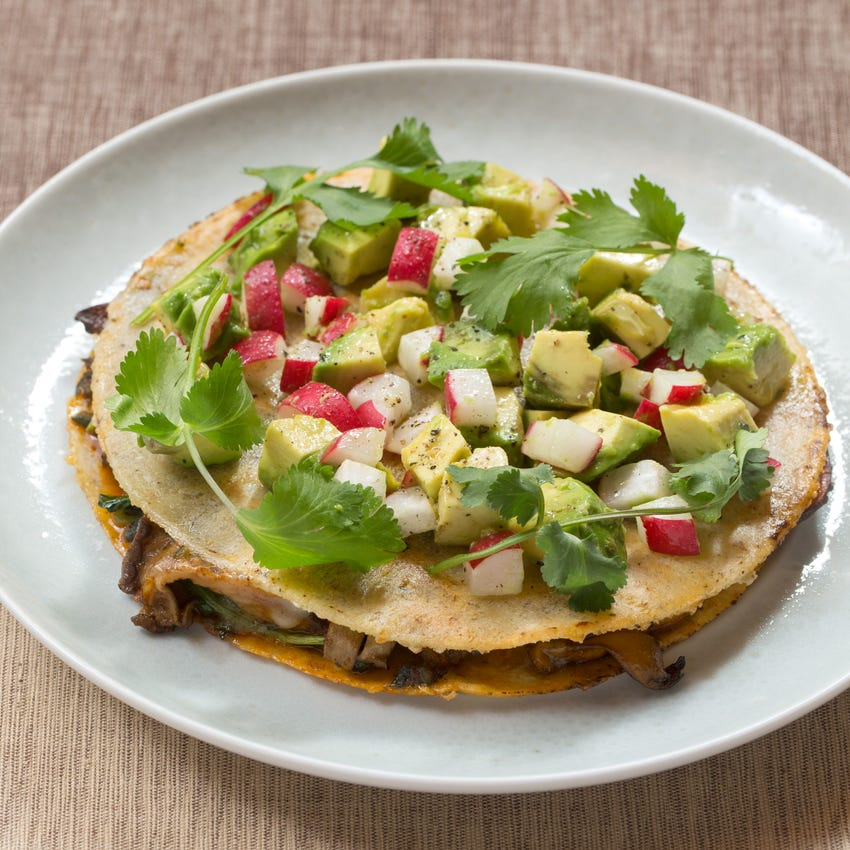 Mushroom & Poblano Pepper Quesadillas with Monterey Jack Cheese & Avocado-Radish Salsa
