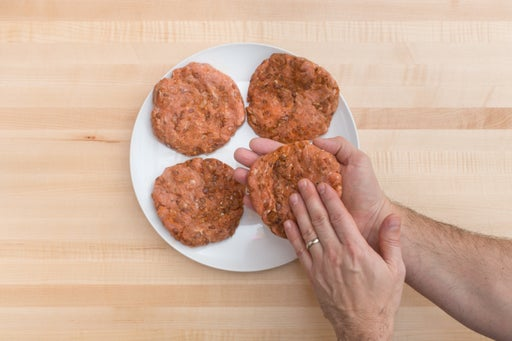 Cook the onion & form the burgers: