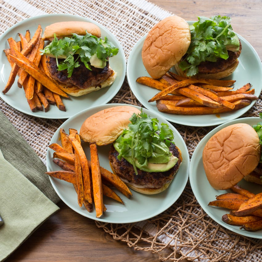 Mexican Spiced Turkey Burgers with Roasted Sweet Potato Fries & Lime Mayonnaise