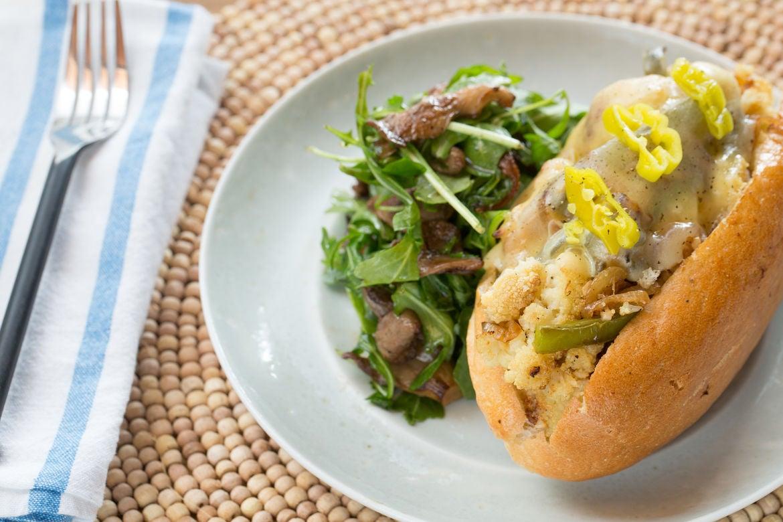 Cauliflower Cheesesteak Sandwiches with Warm Mushroom & Arugula Salad