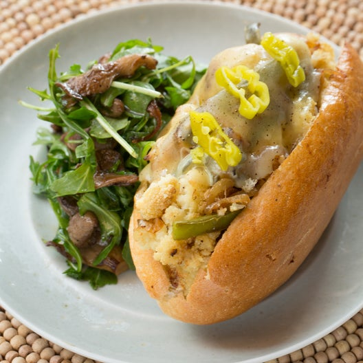 Cauliflower Cheesesteak Sandwiches with Warm Mushroom & Arugula Salad