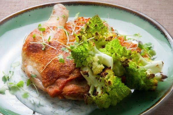 Chicken Legs with Green Ball Cauliflower, Seared Grapefruit & Yogurt Sauce