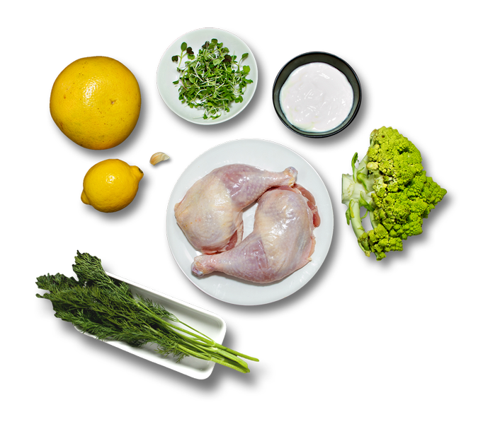 Chicken Legs with Green Ball Cauliflower, Seared Grapefruit & Yogurt Sauce ingredients