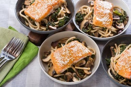 Miso & Maple-Glazed Salmon with Fresh Udon Noodles & Cremini Mushrooms