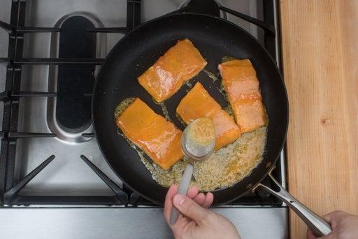 Cook & glaze the salmon: