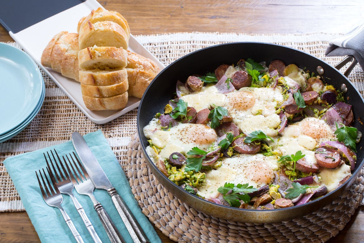 Baked Eggs & Cheesy Garlic Bread with Brussels Sprouts & Fingerling Potatoes