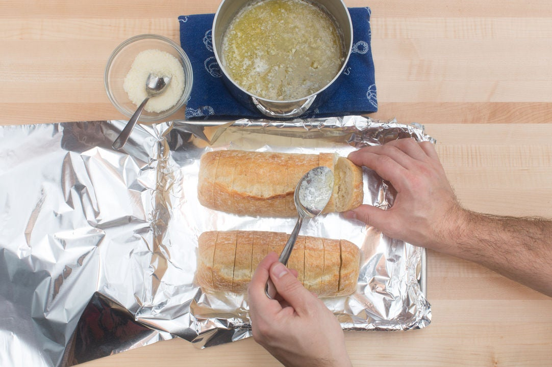 Prepare the garlic bread: