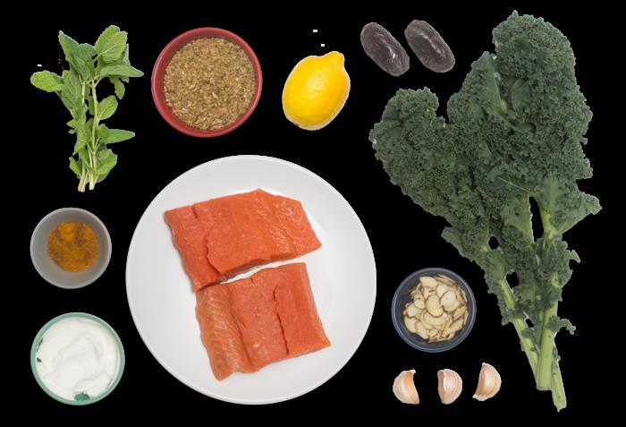 Sumac-Spiced Salmon & Labneh with Freekeh, Kale & Almond Salad