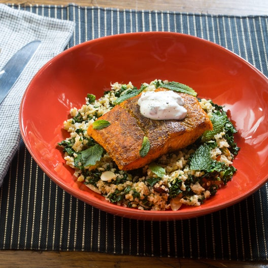 Sumac-Spiced Salmon & Labneh with Freekeh, Kale & Almond Salad