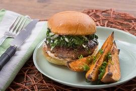 Hoisin & Shiitake Burgers with Miso Mayonnaise & Roasted Sweet Potato Wedges