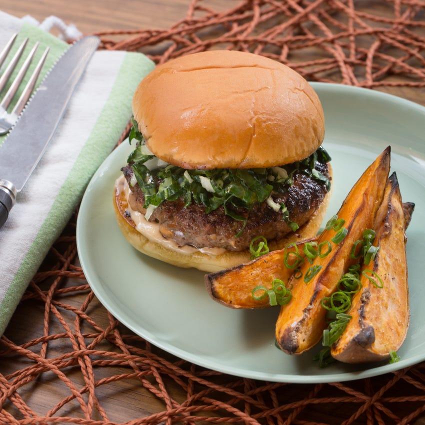 Hoisin & Shiitake Burgers with Miso Mayonnaise & Roasted Sweet Potato Wedges