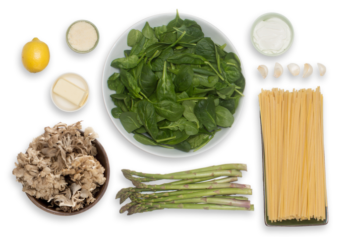 Creamy Pasta Primavera with Sautéed Asparagus & Crispy Maitake Mushrooms ingredients