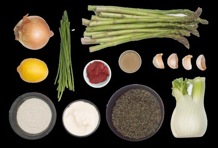 Lentil & Fennel Minestra  with Asparagus Tempura & Lemon Aioli ingredients