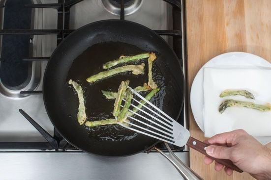 Make the asparagus tempura: