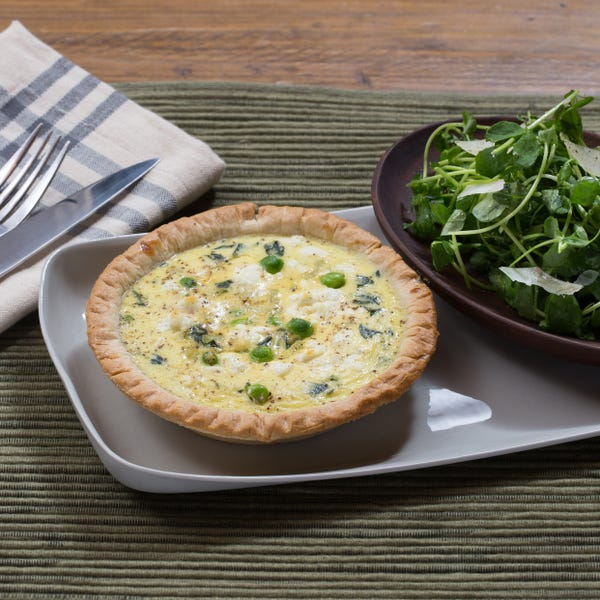 English Pea & Goat Cheese Quiches with Pea Shoot & Shaved Parmesan Salad