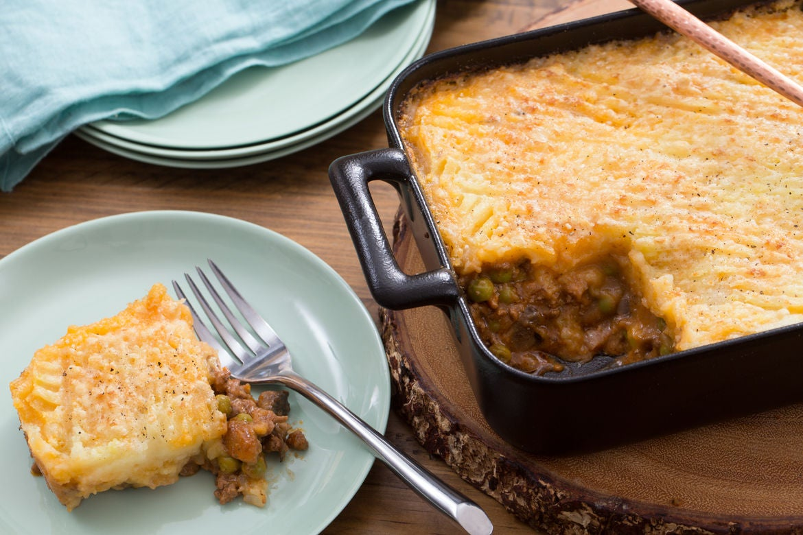 Spring Shepherd's Pie  with Cremini Mushrooms & English Peas
