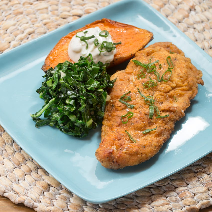 Chicken Fried Chicken with Baked Sweet Potato & Collard Greens