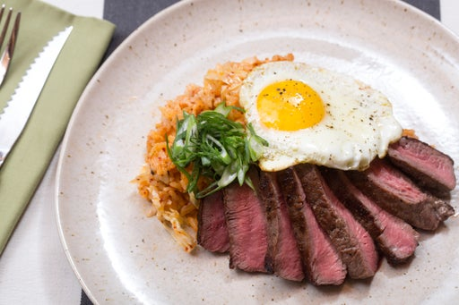 Steak & Eggs with Quick Kimchi Fried Rice