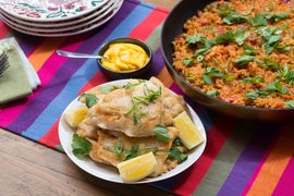 Crispy Catfish & Paella-Style Rice with English Peas & Saffron Aioli