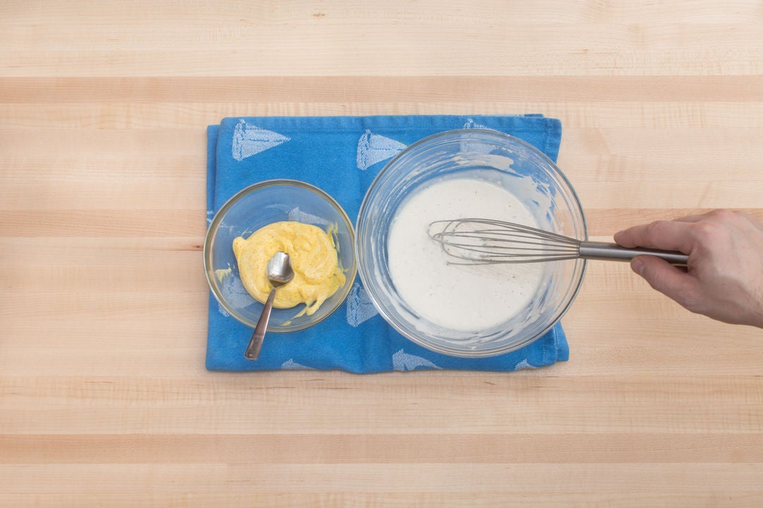Make the saffron aioli & batter: