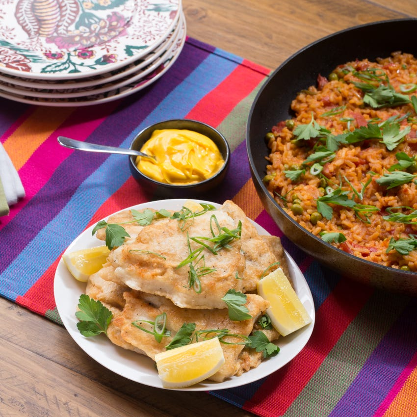 Crispy Catfish & Paella-Style Rice with English Peas & Saffron Aioli