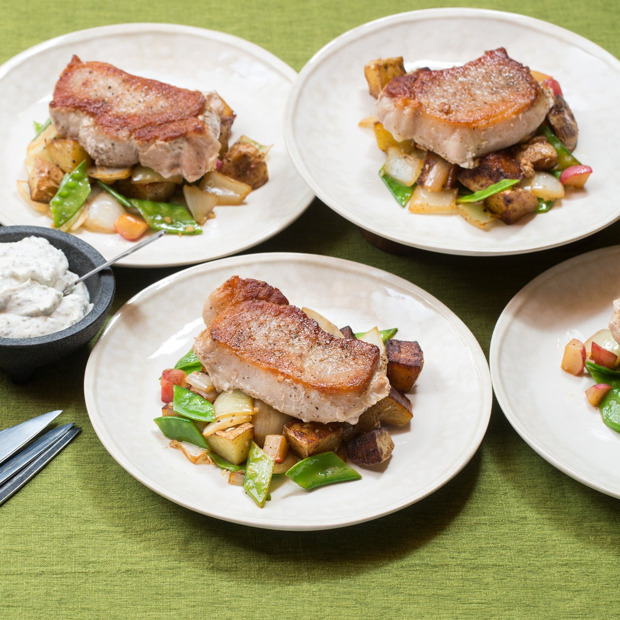 Pork Chops & Spring Vegetable Hash with Homemade Ranch Dressing