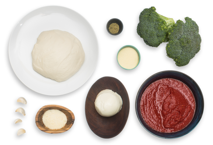 Cheesy Broccoli Calzones with Tomato Dipping Sauce ingredients