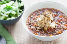 Black Lentil Soup with Crispy Maitakes & Smoked Sea Salt