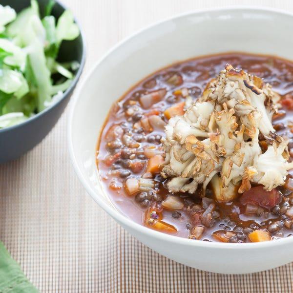 Black Lentil Soup with Crispy Maitakes & Smoked Sea Salt