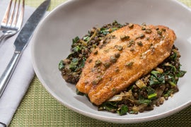 Catfish Meunière with Ras El Hanout Collard Greens & Lentils
