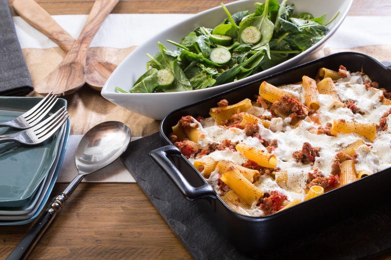 Blue apron kidd - Spiced Pork Baked Rigatoni Pasta With Fresh Mozzarella Spinach Salad
