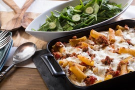 Spiced Pork & Baked Rigatoni Pasta with Fresh Mozzarella & Spinach Salad