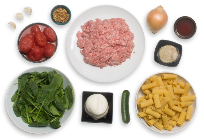 Spiced Pork & Baked Rigatoni Pasta with Fresh Mozzarella & Spinach Salad ingredients