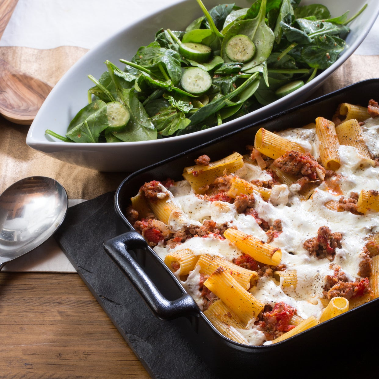 Spiced Pork & Baked Rigatoni Pasta with Fresh Mozzarella & Spinach Salad