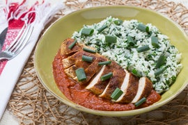 Nepalese Chicken Tarkari with Garlic-Spinach Rice & Spiced Tomato Sauce