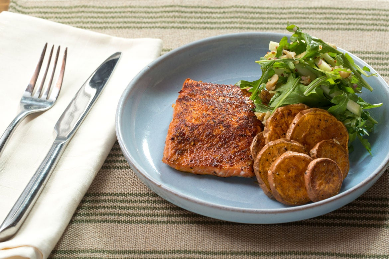Blue apron katsu catfish - Bbq Spiced Salmon Roasted Sweet Potato Rounds