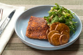 BBQ-Spiced Salmon & Roasted Sweet Potato Rounds with Arugula, Apple & Walnut Salad