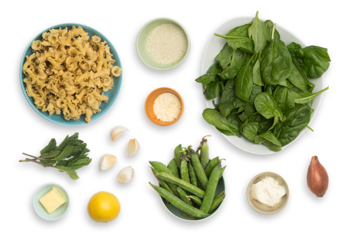 Creamy Lemon Pasta with English Peas, Mint & Garlic Breadcrumbs