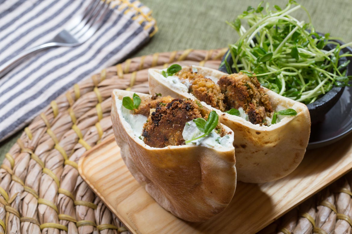 Falafel Pitas & Tzatziki with Pea Shoot Salad