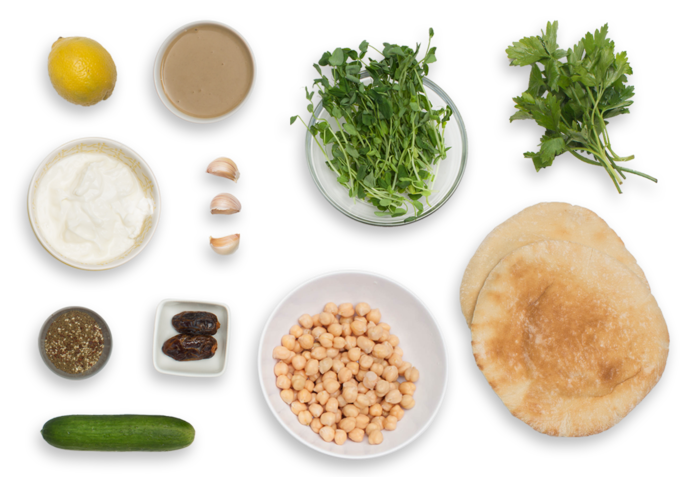 Falafel Pitas & Tzatziki with Pea Shoot Salad ingredients