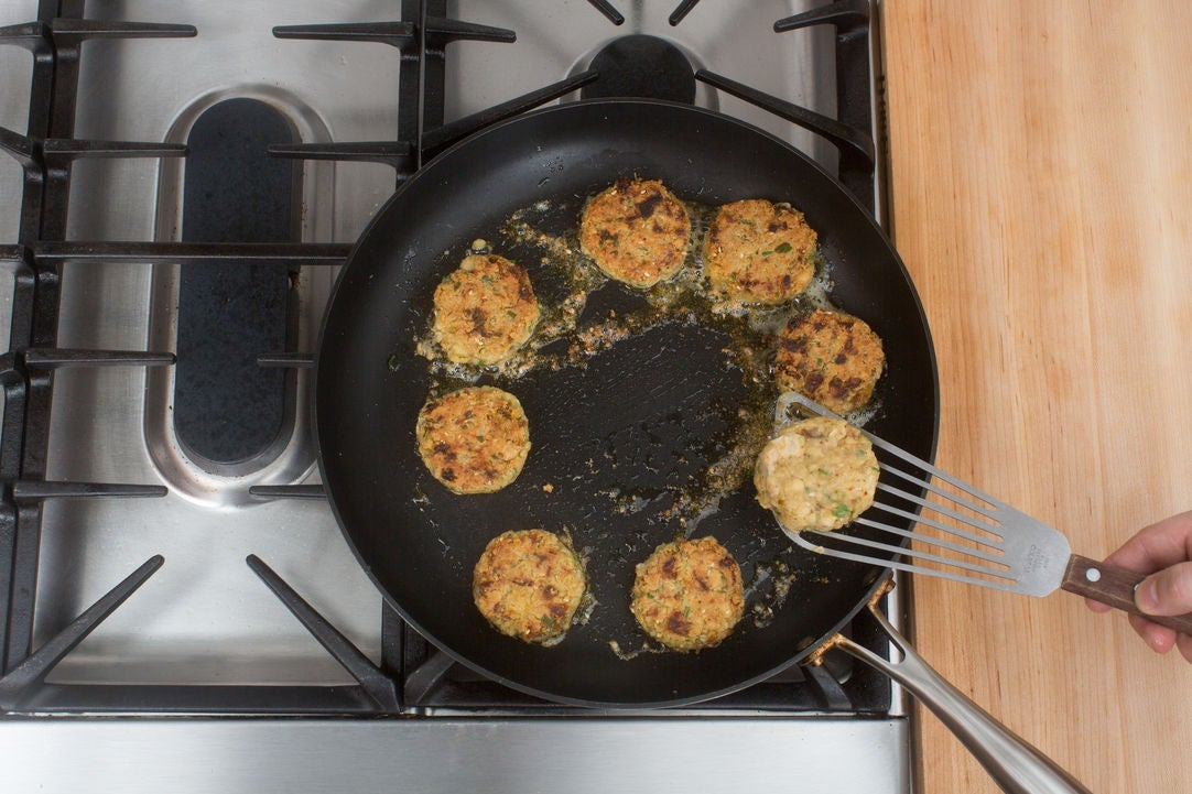 Cook the falafel: