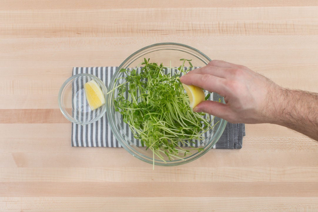 Dress the pea shoots: