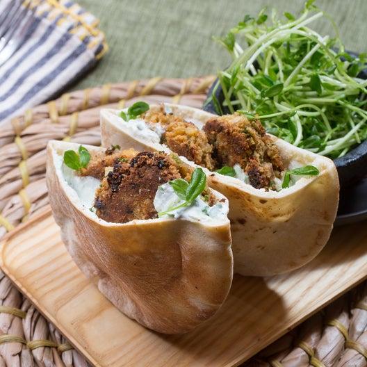 Falafel Pitas & Tzatziki with Pea Shoot Salad