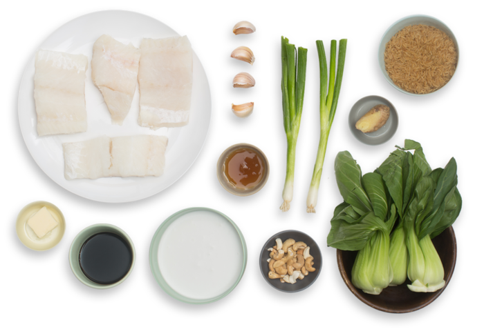 Honey-Garlic Cod with Sautéed Bok Choy & Coconut Rice ingredients