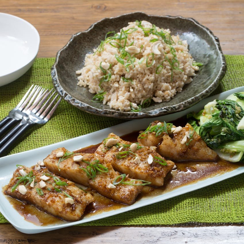 Honey-Garlic Cod with Sautéed Bok Choy & Coconut Rice